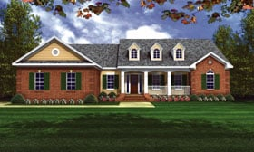 House Plan 59066 | European Ranch Traditional Style Plan with 1701 Sq Ft, 3 Bed, 2 Bath, 2 Car Garage Elevation