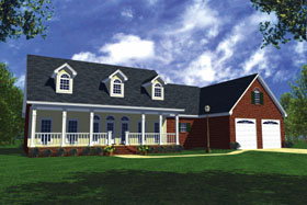 Country Farmhouse Ranch Traditional House Plan 59067 Elevation