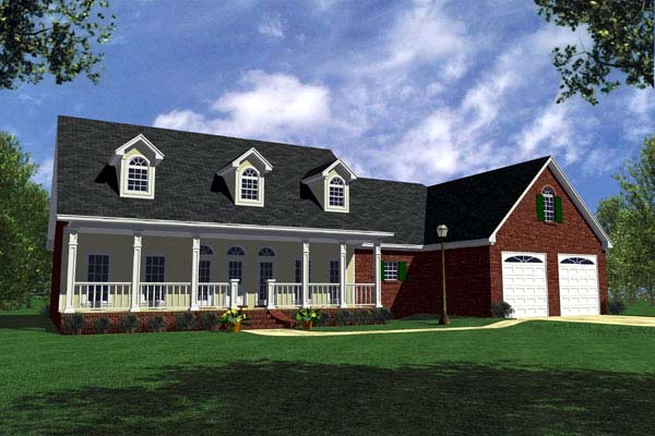 Country, Farmhouse, Ranch, Traditional House Plan 59067 with 3 Beds, 3 Baths, 2 Car Garage
