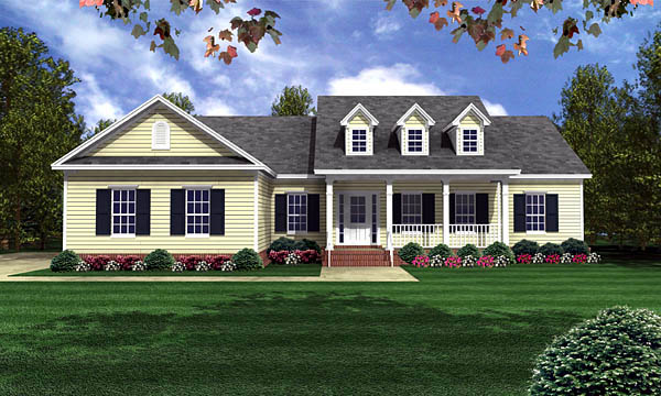 Country Ranch Southern Traditional House Plan 59068 Elevation