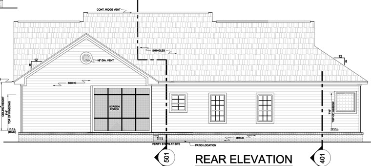 Country Ranch Southern Traditional House Plan 59068 Rear Elevation
