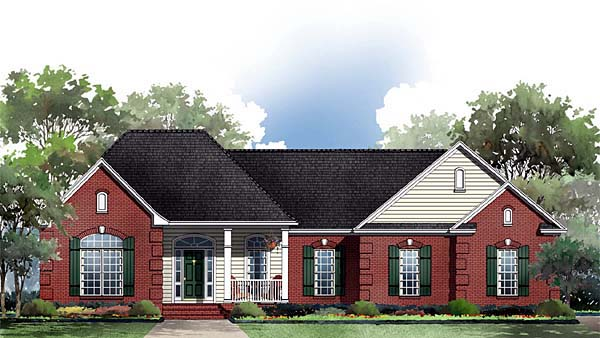 European, Ranch, Traditional House Plan 59069 with 3 Beds, 2 Baths, 2 Car Garage Elevation