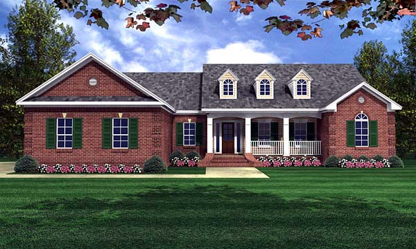 Ranch , Traditional House Plan 59070 with 4 Beds, 3 Baths, 2 Car Garage Elevation