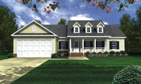 House Plan 59071 | Country, Ranch, Southern, Traditional Style House Plan with 2003 Sq Ft, 3 Bed, 3 Bath, 2 Car Garage Elevation