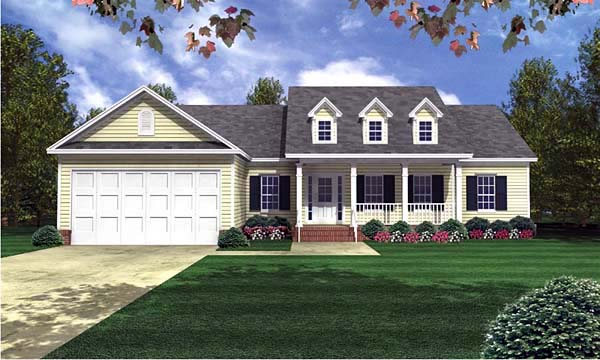 Country Ranch Southern Traditional Elevation of Plan 59071