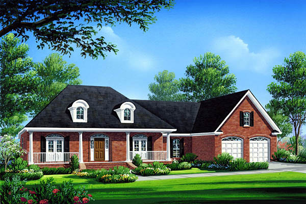 House Plan 59072 | Country Farmhouse French Country Southern Style Plan with 2004 Sq Ft, 3 Bedrooms, 3 Bathrooms, 2 Car Garage Elevation