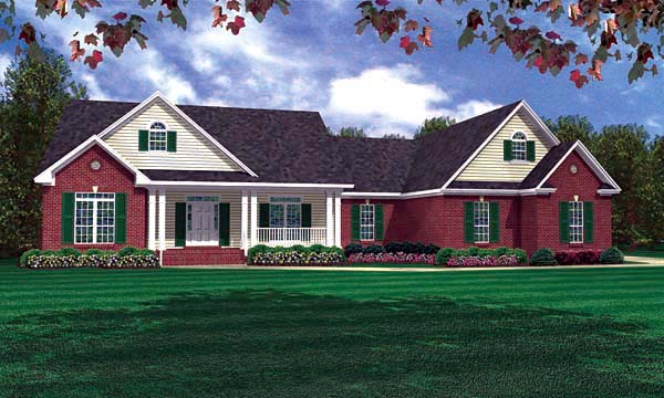 Ranch, Traditional House Plan 59073 with 3 Beds, 4 Baths, 2 Car Garage Elevation