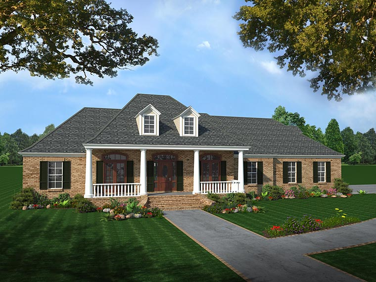 Colonial, Country, European, Southern House Plan 59075 with 4 Beds , 3 Baths , 2 Car Garage Elevation