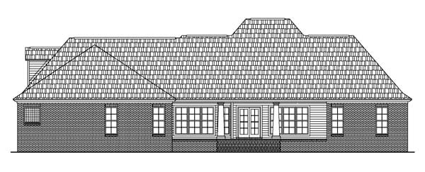 Colonial, Country, European, Southern House Plan 59075 with 4 Beds, 3 Baths, 2 Car Garage Rear Elevation