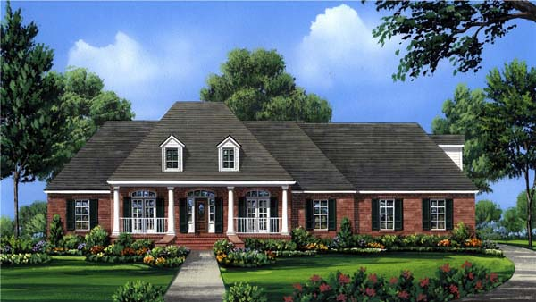 Colonial , European , Traditional House Plan 59079 with 4 Beds, 4 Baths, 2 Car Garage Elevation