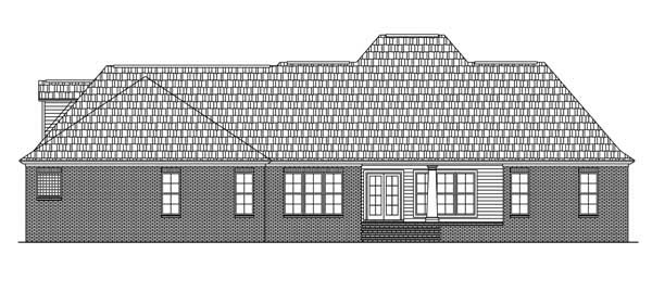 Colonial , European , Traditional House Plan 59079 with 4 Beds, 4 Baths, 2 Car Garage Rear Elevation