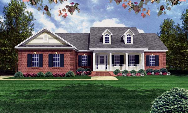Country , Ranch , Southern , Traditional House Plan 59080 with 3 Beds, 2 Baths, 2 Car Garage Elevation