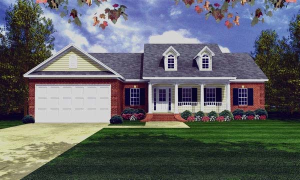 Country , Ranch , Southern , Traditional House Plan 59081 with 3 Beds, 2 Baths, 3 Car Garage Elevation