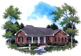 House Plan 59084 | Country European Ranch Traditional Style Plan with 1800 Sq Ft, 3 Bedrooms, 2 Bathrooms, 2 Car Garage Elevation