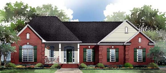 European Ranch Traditional Elevation of Plan 59087