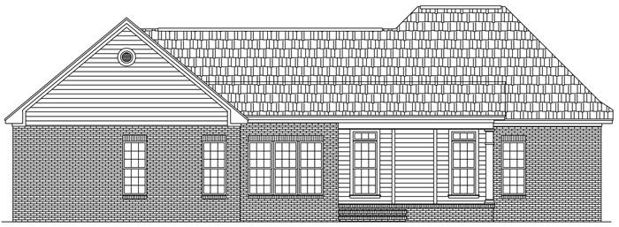 European, Ranch, Traditional House Plan 59087 with 3 Beds, 3 Baths, 3 Car Garage Rear Elevation