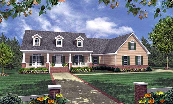 Craftsman, Ranch, Traditional House Plan 59089 with 3 Beds, 3 Baths, 2 Car Garage Elevation