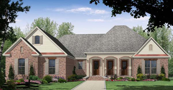 European , Ranch , Traditional House Plan 59090 with 3 Beds, 3 Baths, 2 Car Garage Elevation