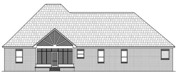 European Ranch Traditional House Plan 59090 Rear Elevation