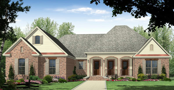 Traditional , Ranch , European House Plan 59091 with 3 Beds, 3 Baths, 3 Car Garage Elevation