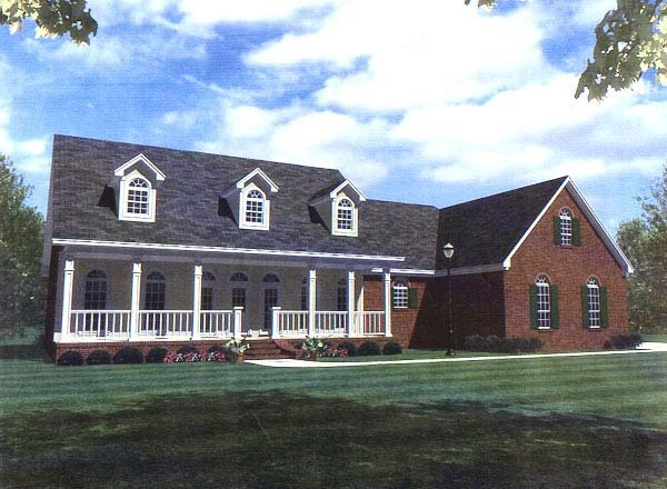 Country , Ranch , Southern House Plan 59094 with 3 Beds, 3 Baths, 2 Car Garage Elevation