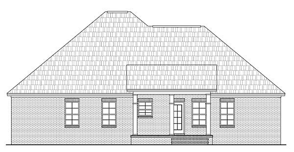 Country , European , Traditional House Plan 59097 with 4 Beds, 3 Baths, 2 Car Garage Rear Elevation