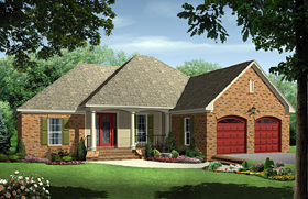 House Plan 59099 | European Traditional Style Plan with 1500 Sq Ft, 3 Bedrooms, 2 Bathrooms, 2 Car Garage Elevation