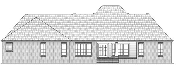Country European Southern Rear Elevation of Plan 59100