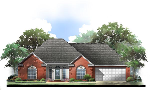 European House Plan 59102 with 3 Beds, 2 Baths, 2 Car Garage Elevation