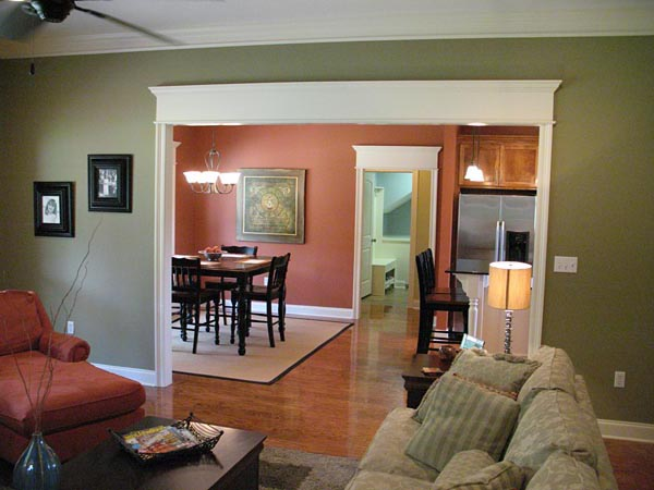 The flex space open to the foyer serves well as a dining room.