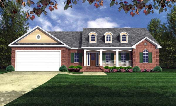 European, Ranch, Traditional, House Plan 59105 with 3 Beds, 2 Baths, 2 Car Garage Elevation