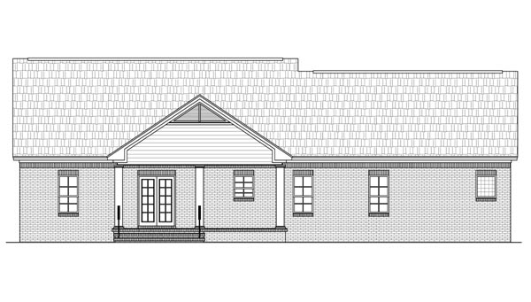 European, Ranch, Traditional, House Plan 59105 with 3 Beds, 2 Baths, 2 Car Garage Rear Elevation