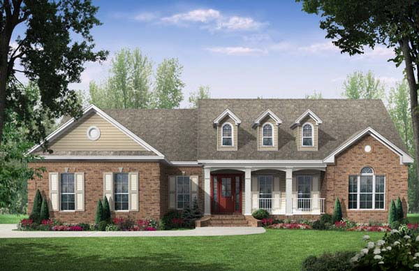 Country , European , Traditional House Plan 59106 with 3 Beds, 2.5 Baths, 2 Car Garage Elevation