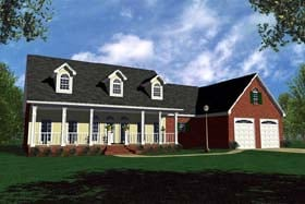 Country Ranch Traditional House Plan 59107 Elevation