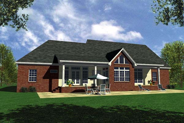 Country Ranch Traditional House Plan 59107 Rear Elevation