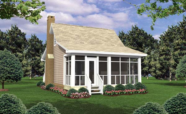 Cottage , Country , Southern , Rear Elevation of Plan 59109