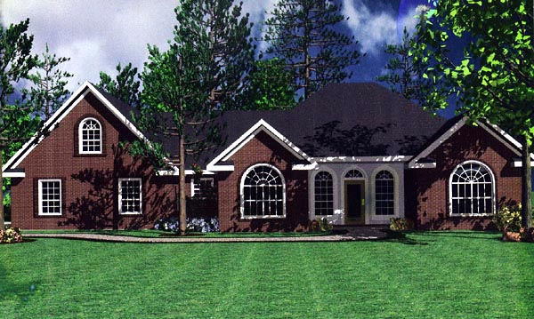 European, French Country, Ranch, Traditional House Plan 59111 with 3 Beds, 3 Baths, 2 Car Garage Elevation
