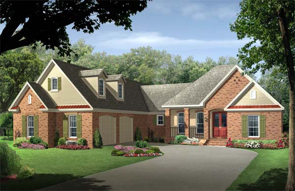 Country , European , Traditional House Plan 59113 with 4 Beds, 3 Baths, 2 Car Garage Elevation