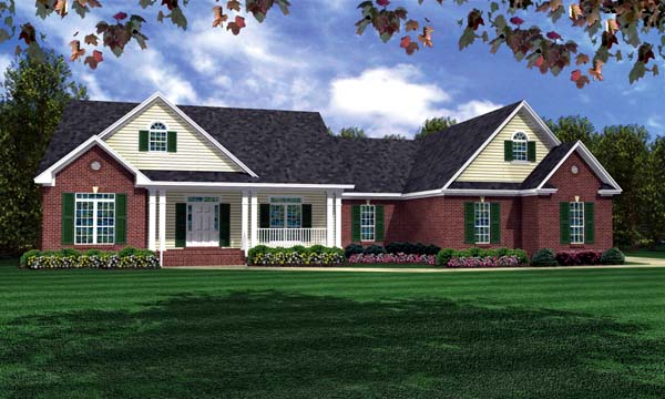 Ranch , Traditional House Plan 59115 with 3 Beds, 4 Baths, 2 Car Garage Elevation