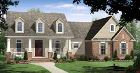 Traditional , European , Craftsman , Country House Plan 59116 with 3 Beds, 2 Baths, 2 Car Garage Elevation