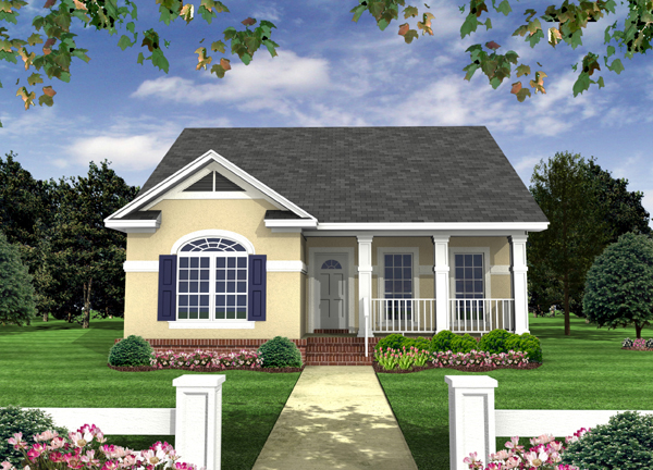 Country , European , Southern , Traditional House Plan 59118 with 2 Beds, 2 Baths Elevation