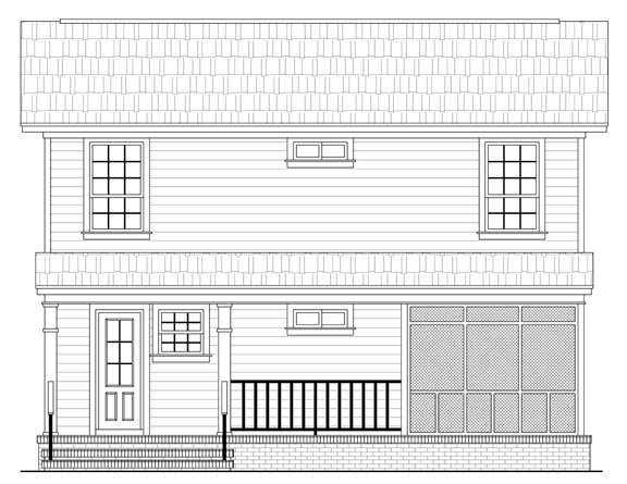 Country , Southern , Traditional , Rear Elevation of Plan 59120