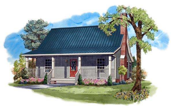 Cottage , Country , Farmhouse , Elevation of Plan 59122
