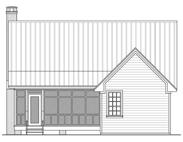 Cottage , Country , Farmhouse , Rear Elevation of Plan 59122