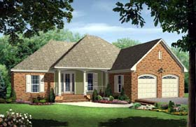 Traditional , European , Country House Plan 59123 with 3 Beds, 2 Baths, 2 Car Garage Elevation