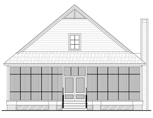 Country , Farmhouse , Traditional House Plan 59124 with 3 Beds, 3 Baths, 2 Car Garage Rear Elevation