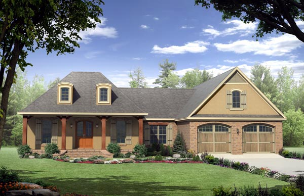 Country, European, French Country House Plan 59125 with 3 Beds, 3 Baths, 2 Car Garage Front Elevation