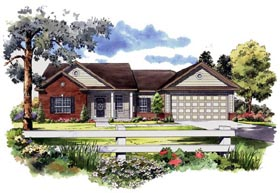 Traditional , Southern , Ranch House Plan 59127 with 3 Beds, 3 Baths, 2 Car Garage Elevation