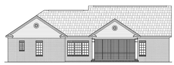 Traditional , Southern , Ranch House Plan 59127 with 3 Beds, 3 Baths, 2 Car Garage Rear Elevation