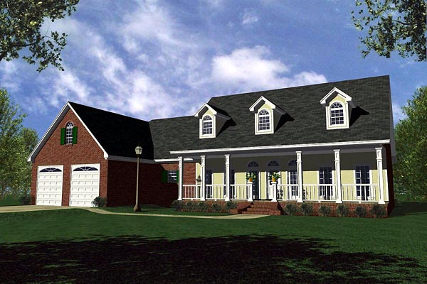 Country, Farmhouse, Ranch, Traditional House Plan 59130 with 3 Beds, 3 Baths, 2 Car Garage Elevation
